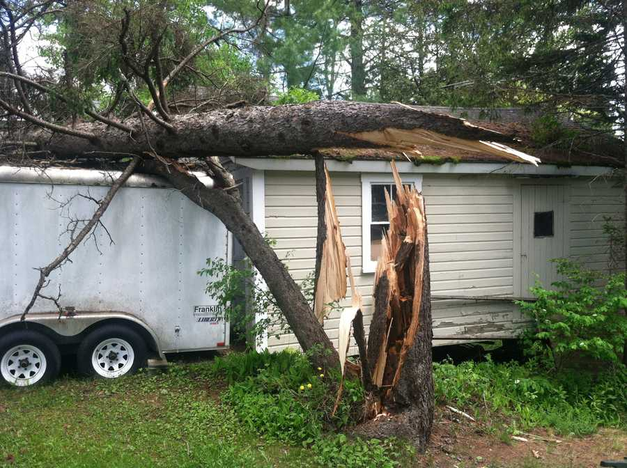 The Rangeley area was cleaning up on Monday after a powerful storm brought down trees and power lines on Sunday.