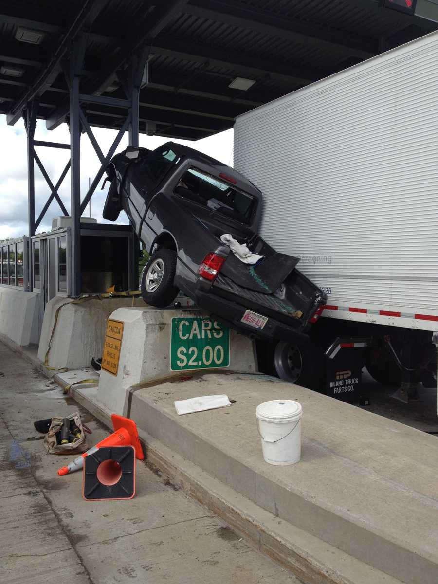 A pickup truck crashed into a concrete barrier in front of a tollbooth on Interstate 95 in Hampton on Wednesday morning.