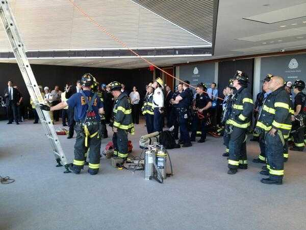 About two dozen firefighters were on the 44th floor of the Hearst Tower taking part in the rescue.