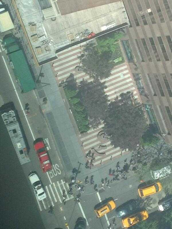 The first three floors of the Hearst Tower were also evacuated because of the risk of the scaffolding collapsing.