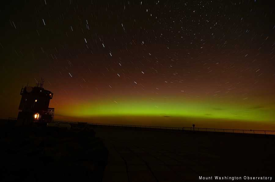 Mount Washington provides a great vantage point for the Northern Lights several times a year.