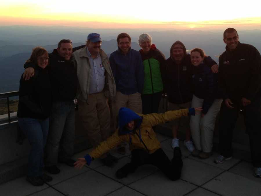 Members of WMTW, WHOM and the Mt. Washington Observatory enjoying the sunset together.