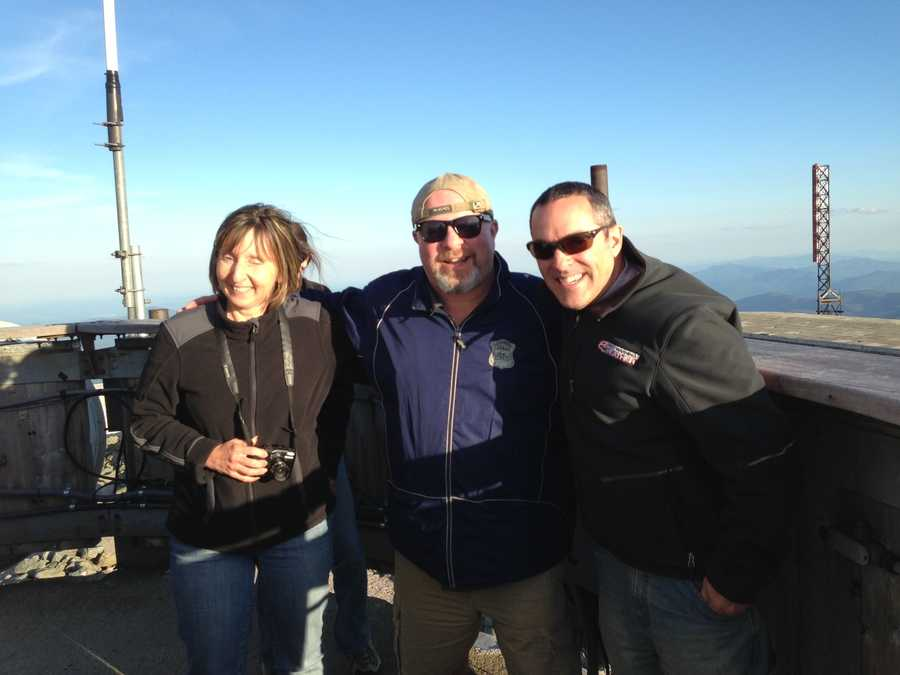 Sandra Harris and Teddy McKay of WHOM with News 8's Matt Zidle on Mt. Washington.