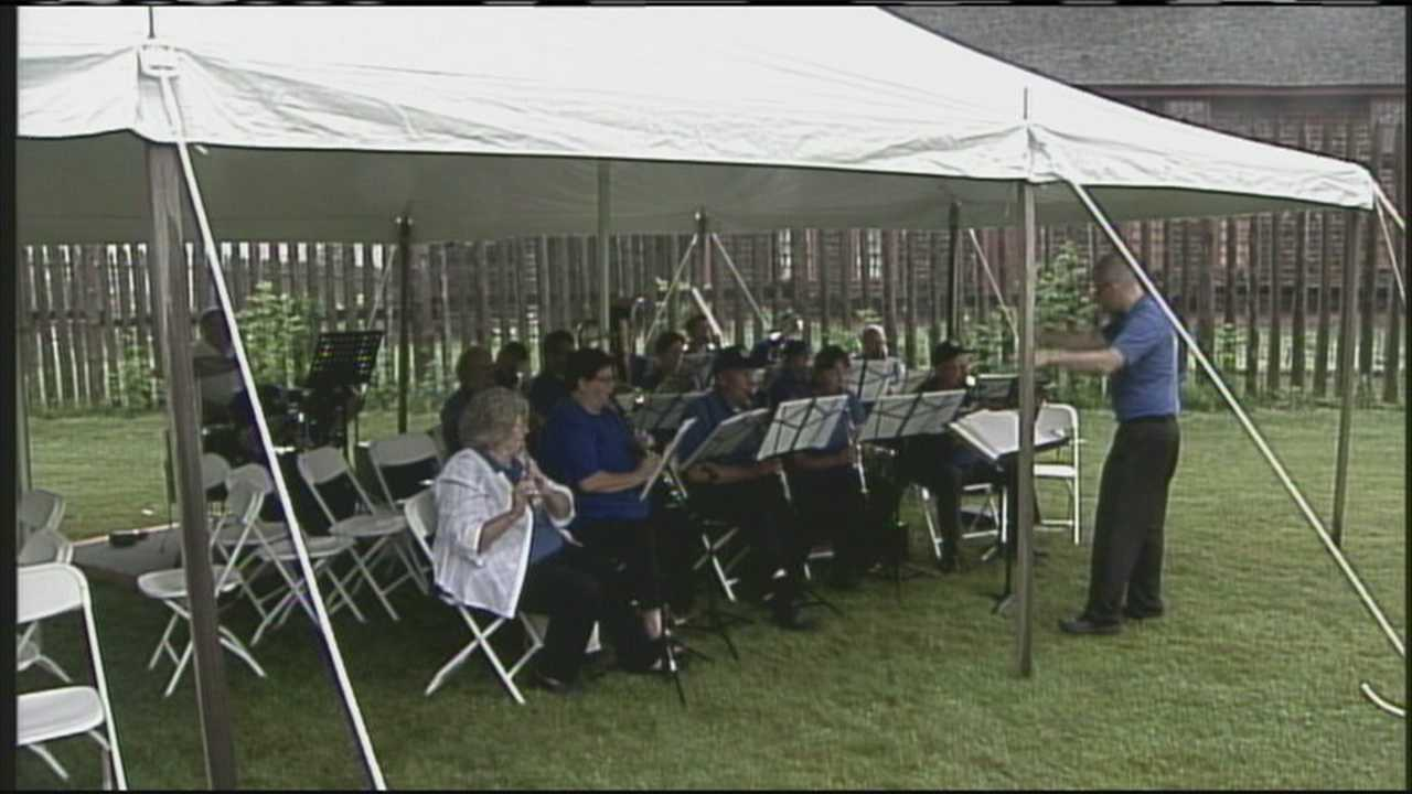 People gathered in Augusta Saturday to hear 14 bands pay tribute to Maine-born composer Robert Brown Hall.