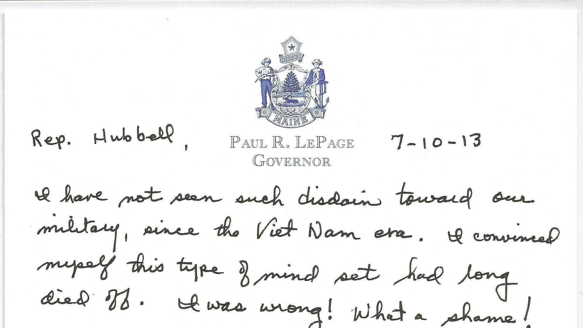 Letter from Gov. LePage