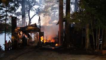Fire destroyed a camp at 51 Shaw Lane in Norway Wednesday night.