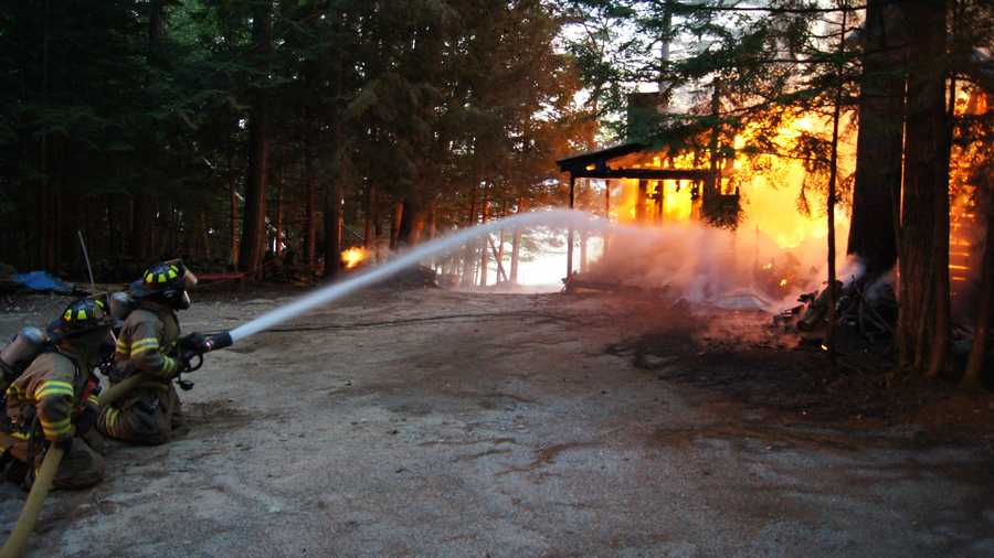 The fire was reported at 7:41 p.m., and firefighters from three departments responded. Tibbetts said by the time they arrived, the building was fully engulfed in flames.