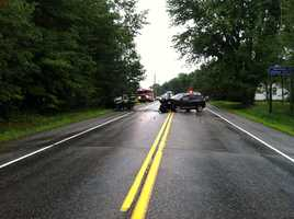 A serious crash in Standish closed a section on Route 25 Friday morning.