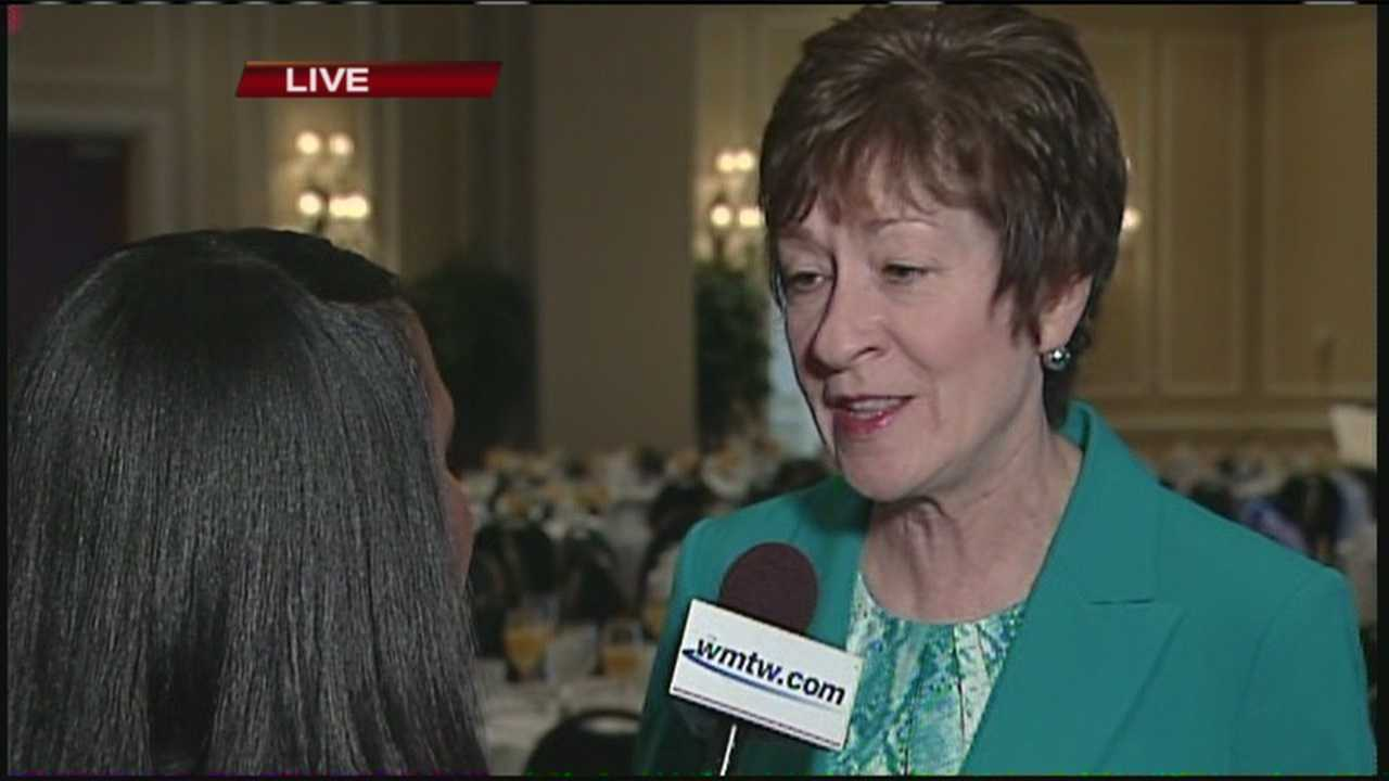 WMTW News 8's Thema Ponton got an exclusive interview with Senator Susan Collins Friday morning. The senator was the guest speaker at the Portland Community Chamber's Eggs and Issues breakfast.