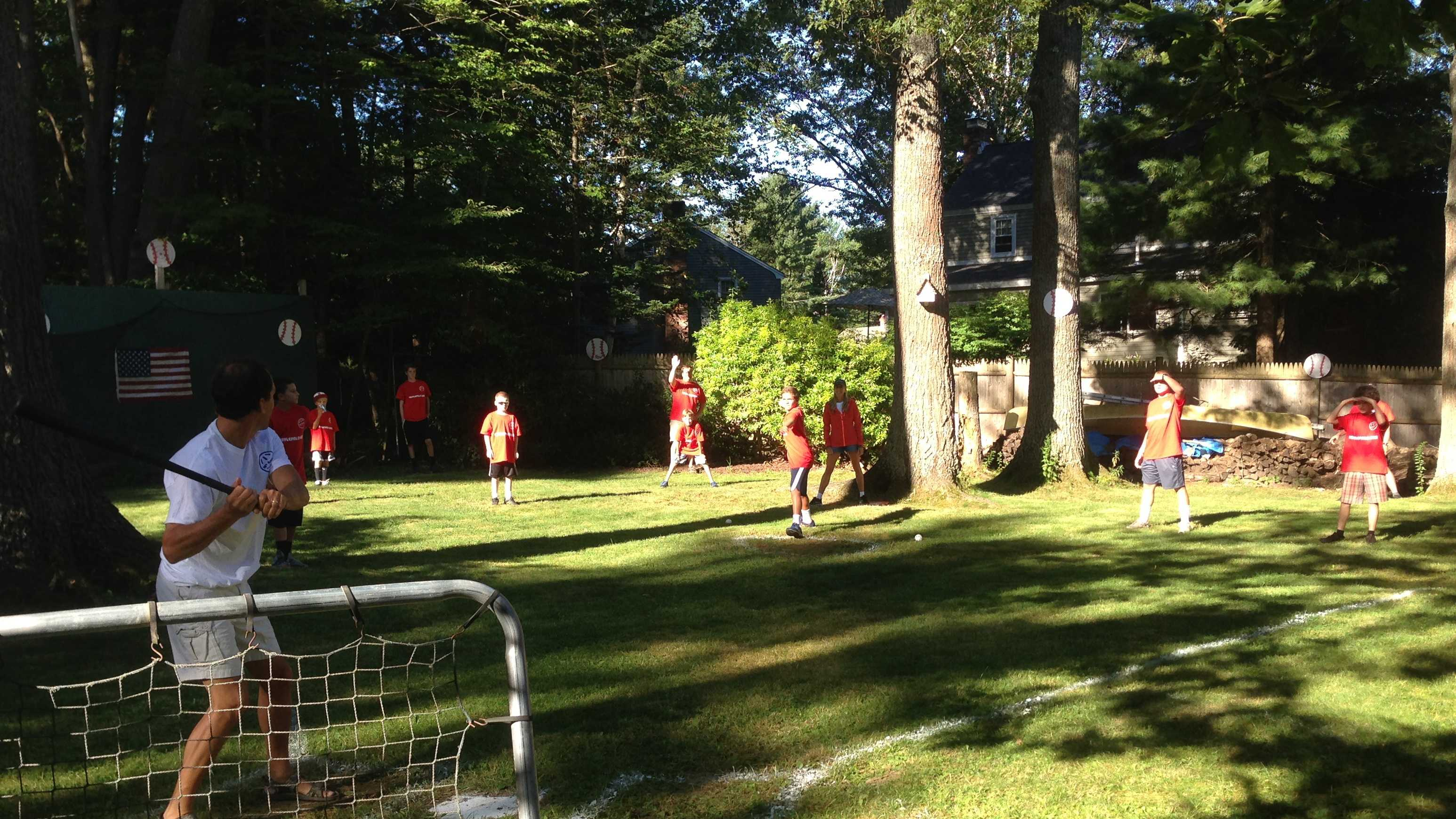 Cape Elizabeth residents played in a 12-hour Wiffle Ball marathon on Saturday.