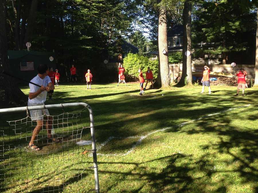 Cape Elizabeth residents played in a 12-hour Wiffle Ball marathon on Saturday.