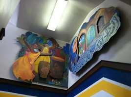 The students say the murals represent the present in Portland and the students hopes for the future.