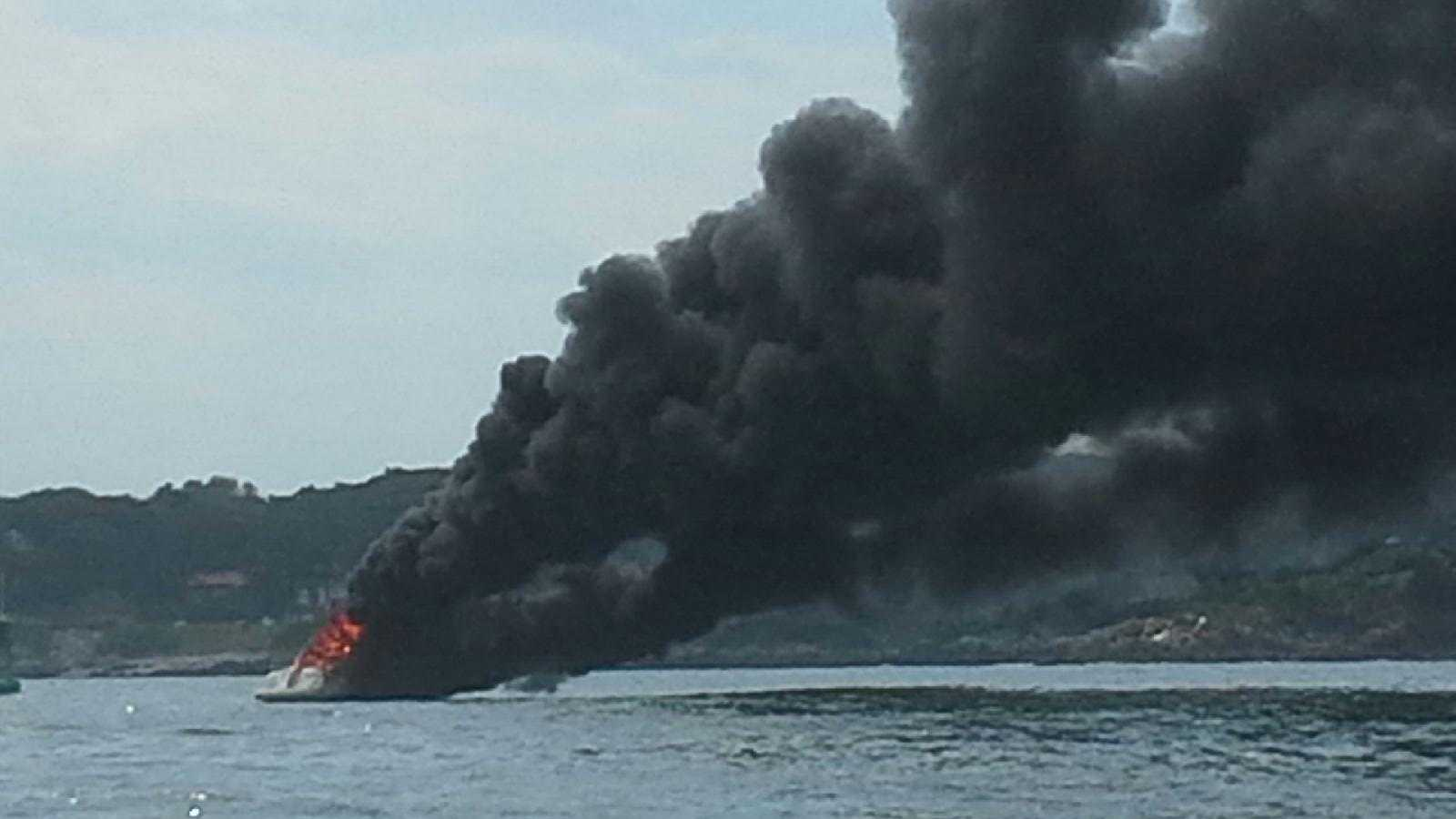 Four people were rescued on Sunday after their boat caught fire in Casco Bay.