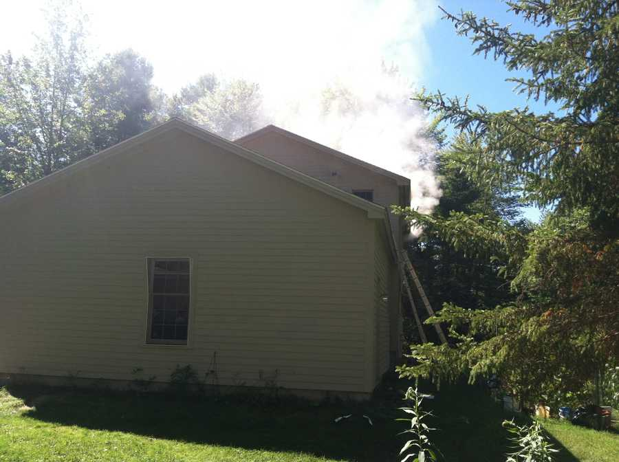 Firefighters took part in training at one of the homes damaged in June's propane explosion in Yarmouth.