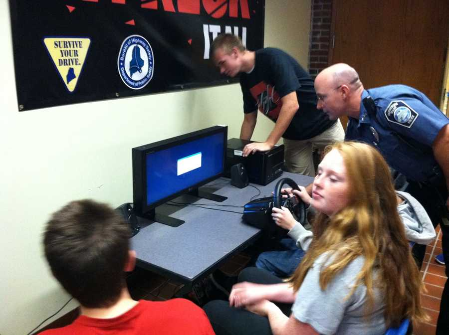 Students at Kennebunk High School got a lesson in driving safety on Monday.