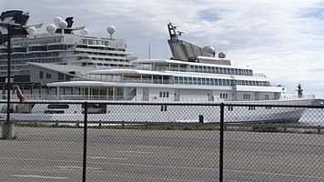 One of the largest yacht's in the world, owned by David Geffen, was docked in Portland Harbor on Tuesday.