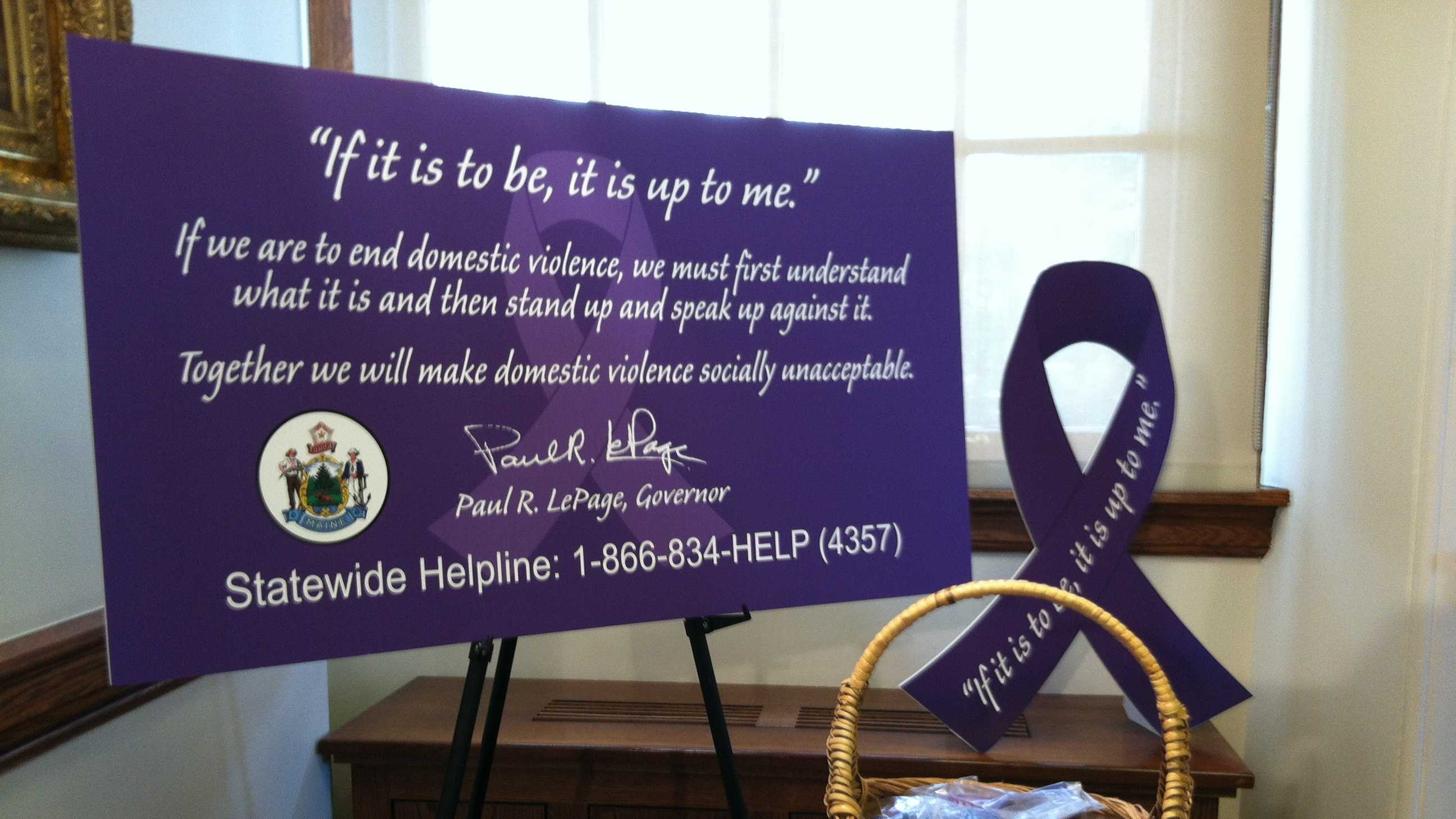 Gov. Paul LePage declared October Domestic Violence Awareness Month during a ceremony Wednesday in Augusta.