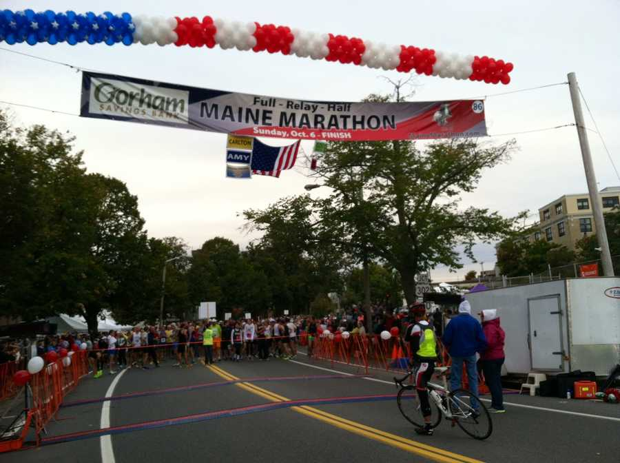 Runners await the starting gun at the start of the 22nd Maine Marathon in Portland on Sunday.