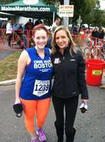 WMTW News 8 reporter Katie Thompson poses with meteorologist Mallory Brooke, who took the day off from her forecasting duties for Maine's Total Weather Team to run a half marathon on Sunday. Mallory finished the race in a time of 2 hours, 27 minutes, 27 seconds.