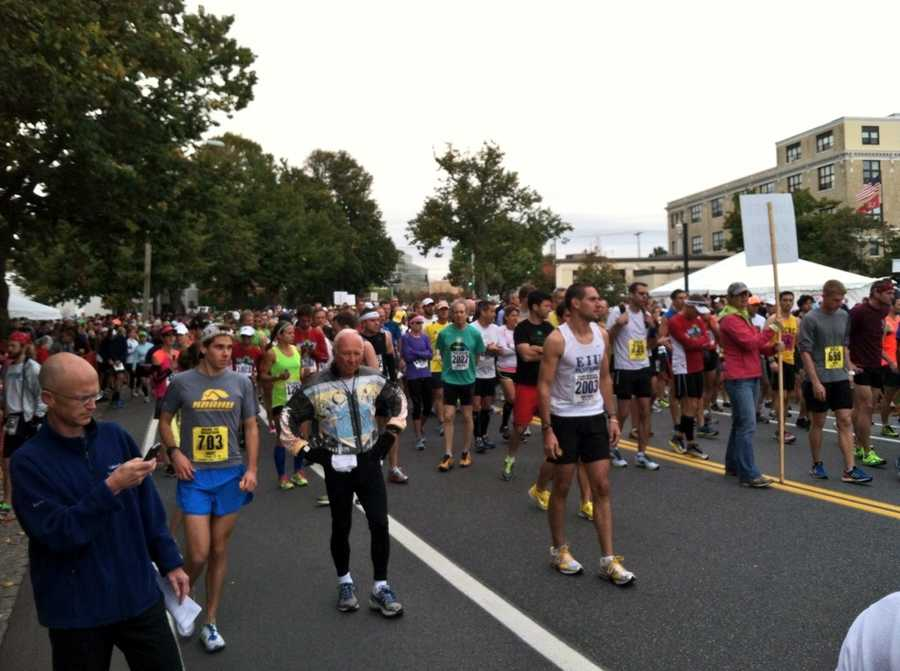 Runners gather around the start line for the 22nd Annual Maine Marathon in Portland on Sunday. More than 3,500 runners participated in the full and half marathon.