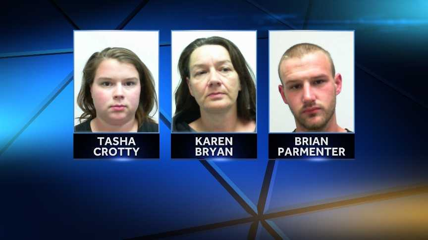Tasha Crotty, Brian Parmenter and Karen Bryan are charged in connection with th stabbing of a Fryeburg man in Conway, NH.