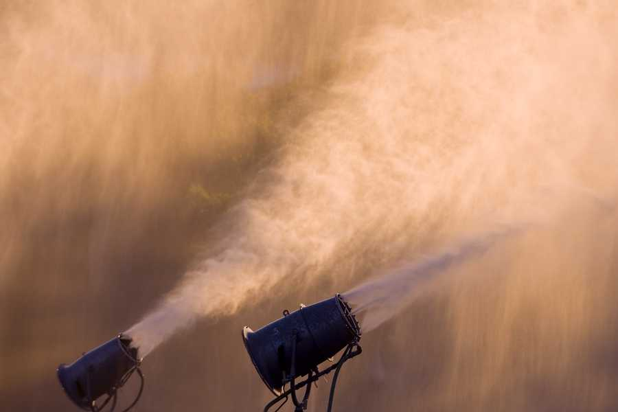 It was cold enough Wednesday morning for Sunday River to put its snow guns to the test as the resort prepares for the upcoming season.