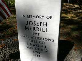 Monday's event was to dedicate a memorial stone to Joseph Merrill, a veteran of the War of 1812.  One of his descendants traveled from Boston for the occasion.