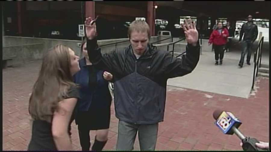 September 25, 2013: Trista Reynolds confronts Justin DiPietro outside Portland courtroom following DiPietro court appearance on separate charge.