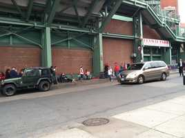 Fans line up outside Fenway Park on game day.