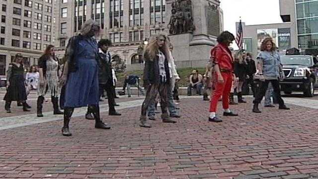 """A flash mob of people performing Michael Jackson's """"Thriller"""" took over downtown Portland on Wednesday."""