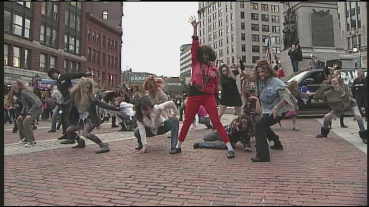 'Thriller' flash mob breaks out in downtown Portland