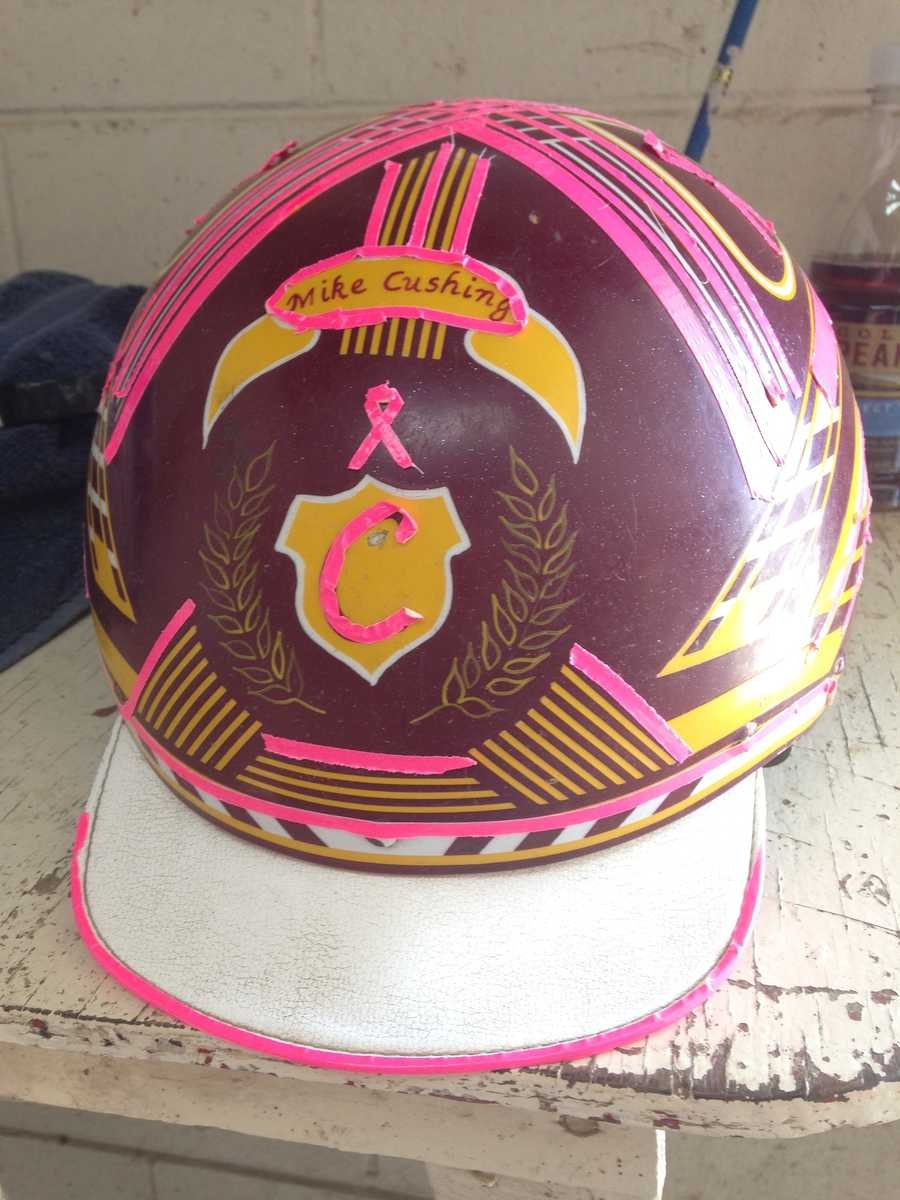 Driver Mike Cushing added some pink to his helmet for Saturday's races.
