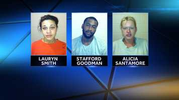 Lauryn Smith, Stafford Goodman and Alicia Santamore were arrested on drug charges in Thomaston