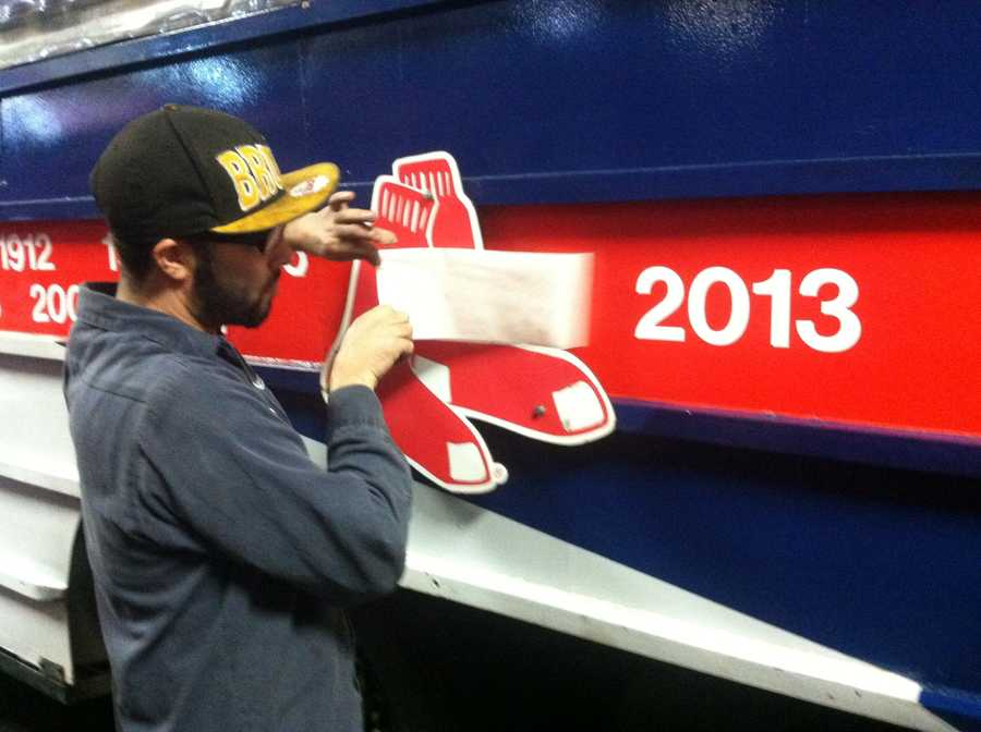 The duck boats were busy being prepped on Friday ahead of Saturday's Red Sox World Series parade.