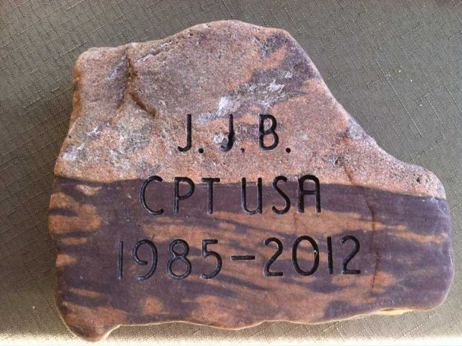 To honor CPT John R. Brainard III, his godparents, Mrs. Nancy White and Mr. Whitey White selected this stone from the woods behind their home in Atkinson, Maine. Click here to learn more about CPT Brainard