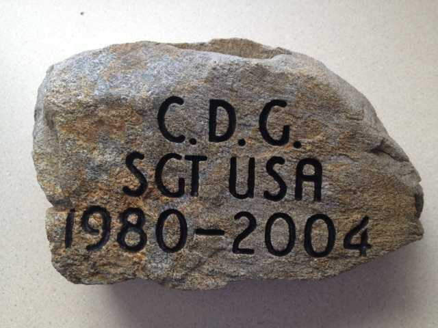 To honor SGT Christopher D. Gelineau, his father, John Gelineau retrieved this stone from the University of Maine campus in Gorham, Maine where SGT Gelineau earned an honorary degree. Click here to learn more about SGT Gelineau