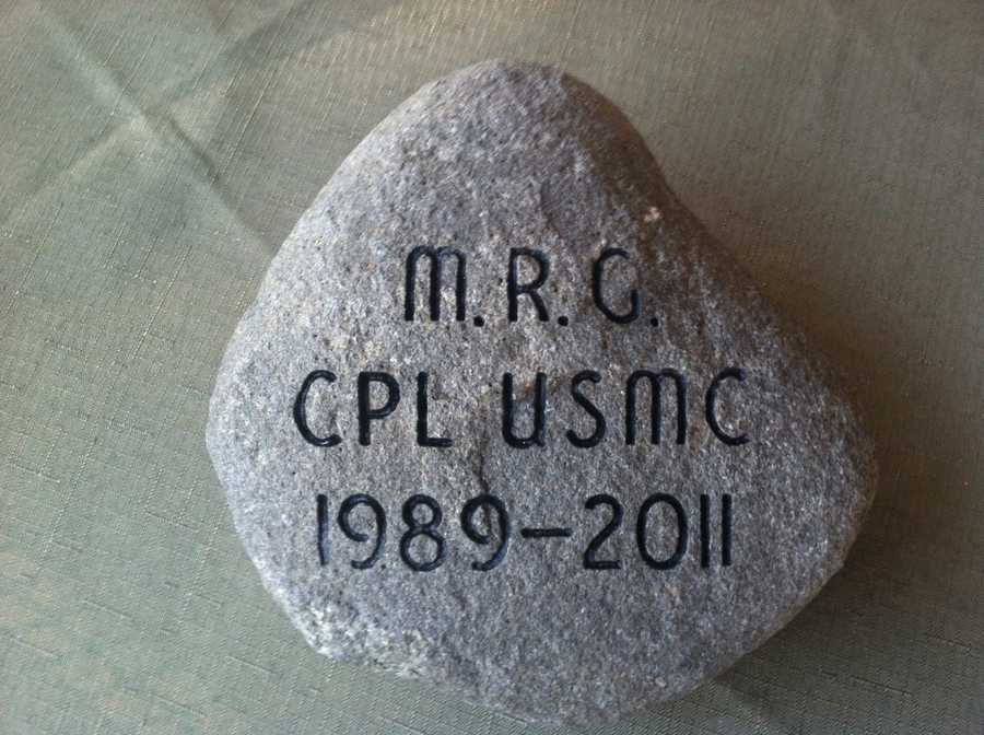 To honor Cpl Mark Raymond Goyet, his mother, Martha Curran Goyet retrieved this stone from her parent's homestead in Westbrook, Maine. Click here to learn more about Cpl Goyet.