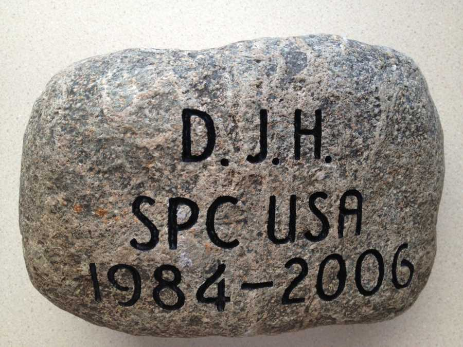 To honor SPC Dustin J. Harris, his parents, Mr. Scott Harris and Mrs. Lorna Harris and his brother, Dylan Harris selected this stone from their family homestead in Patten, Maine. Click here to learn more about SPC Harris