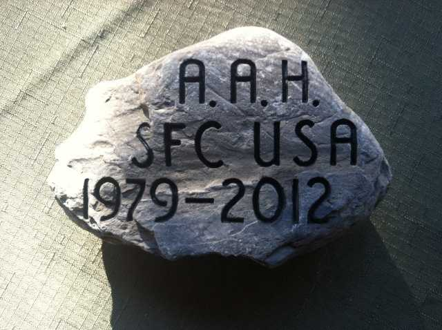 To honor SFC Aaron A. Henderson , his mother, Christine Henderson retrieved this stone from their seven-generation family farm in Houlton, Maine. Click here to learn more about SFC Henderson