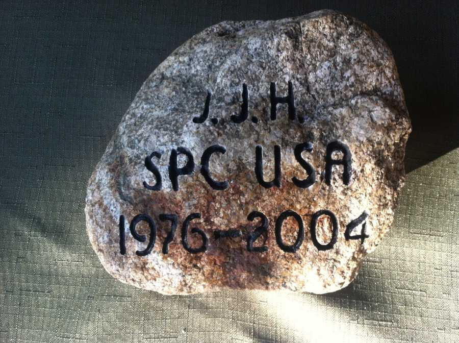 To honor SGT Jeremiah J. Holmes, his sister, Nancy Allard Jusseaume retrieved this stone from their parents herb garden in North Berwick, Maine. Click here to learn more about SGT Holmes