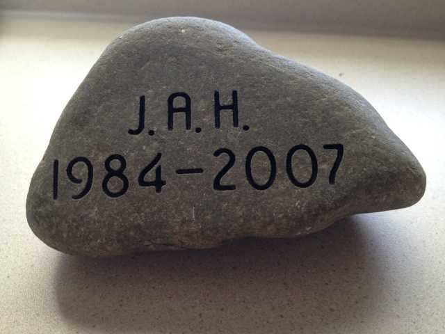 To honor SGT Joel A. House, his parents, Mr. Paul House and Mrs. Dee House retrieved this stone from a small swimming hole near their camp in Lee, Maine. Click here to learn more about SGT House.