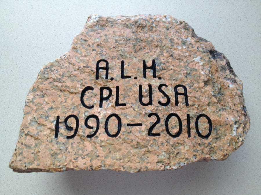 To honor CPL Andrew L. Hutchins, his father, Mr. Jeff Hutchins retrieved this stone from the southern end of West Grand Lake near Princeton, Maine. Click here to learn more about CPL Hutchinson.