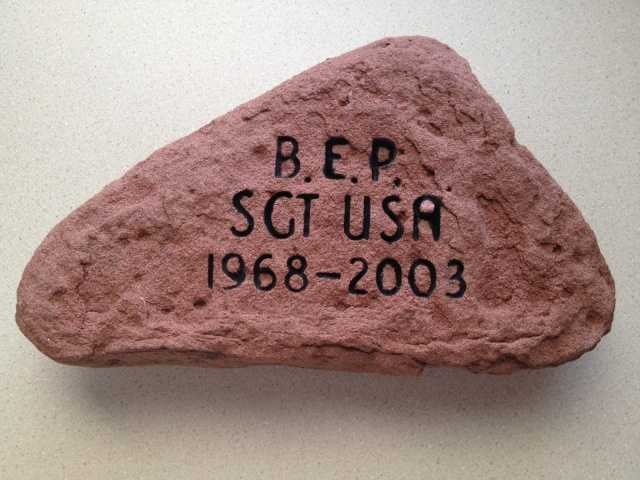 To honor SGT Brett Pelotte, his mother, Cathy Burns retrieved this stone from Prince Edward Island, Canada. Click here to learn more about SGT Pelotte