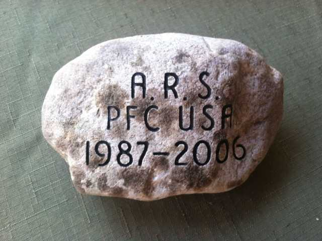 To honor PFC Andrew R. Small, his parents, Cindy and Terry Small retrieved this stone from their homestead in Wiscassett, Maine. Click here to learn more about PFC Small.