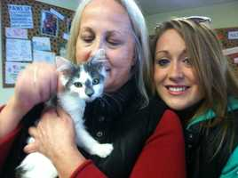 Mary Byram and her daughter Katie Smith won the lottery the shelter held to determine who would adopt Miracle.