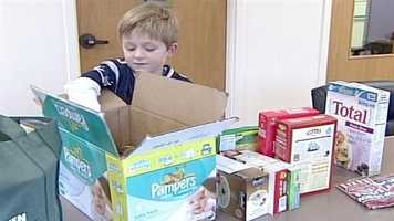 First-grader Ayden Rand decided to raise money and collect food donations for his less-fortunate friends at Sabattus Primary School.