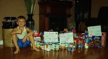 His goal was to collect 38 food items. His mother Brandie Rand told WMTW News 8 that he collected $105 in cash and 106 items.