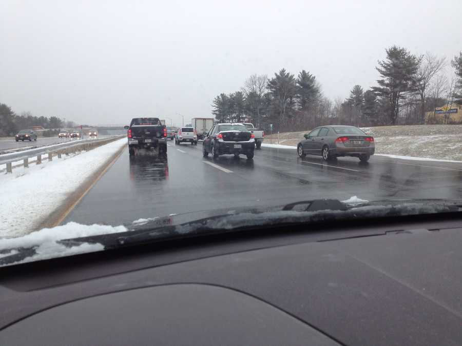 Slowed traffic on the Turnpike in Saco