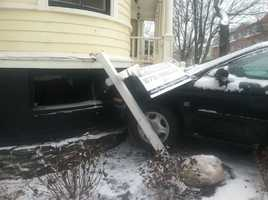 A car crashed into a building on Cumberland Avenue in Portland Tuesday morning.