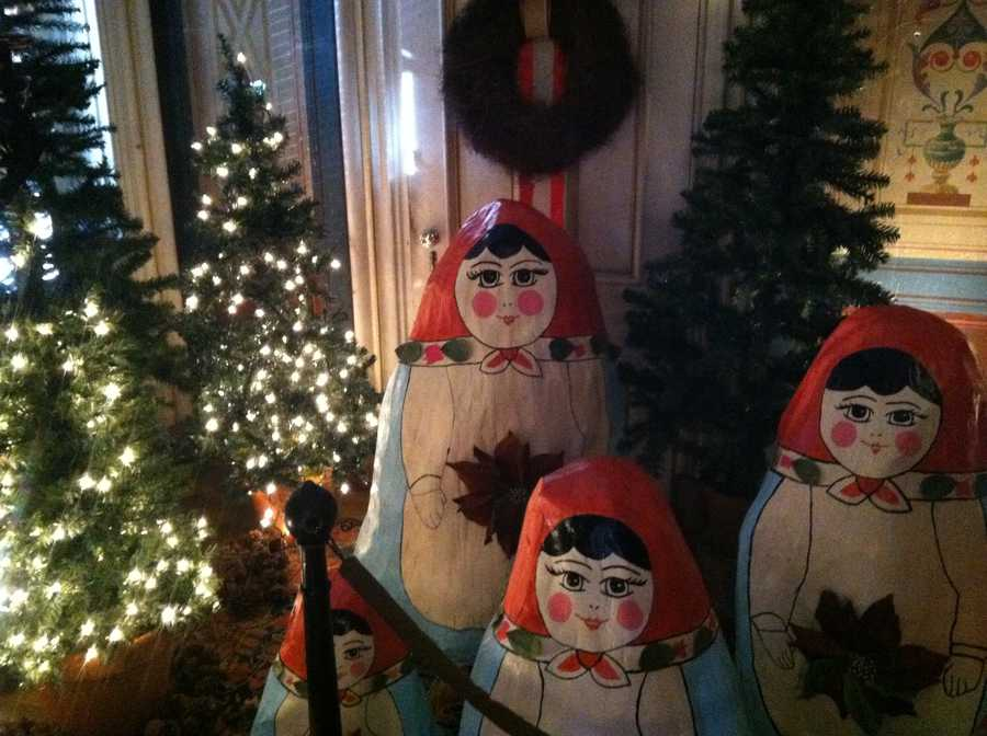 Over-size nesting dolls greet visitors in the one of the rooms at the Victoria Mansion in Portland.